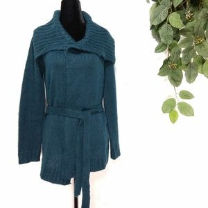 Chaps teal long tie waist open collared cardigan